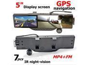 Car DVR Camera +GPS navigation +5 LCD Car Rearview Mirror Camera +7IR night+ Bluetooth headset+FM+MP4 +Back Mirror DVR+Free Bluetooth Headset