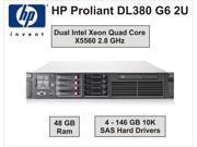 HP PROLIANT DL380 G6 2U - Dual Intel Quad Core X5560 - 2.8GHz - 48GB Ram - 4x146GB Hard Drives – Rack Mount Server -  Dual Hot Plug Power Supplies with 2 Power Cords