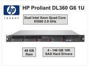 HP PROLIANT DL360 G6 1U - Dual Intel Quad Core X5560 - 2.8GHz - 48GB Ram - 4x146GB Hard Drives – Rack Mount Server -  Dual Hot Plug Power Supplies with 2 Power Cords