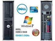 Dell 780 Desktop Core 2 Duo 3.0GHz Intel E8400 - 8GB Ram - 1TB Hard Drive - DVD/RW - DVD Burner - Windows 7 Professional 64 Bit