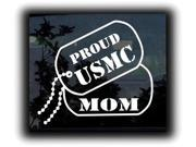 Proud USMC Marines Mom Dog Tags Military Decals 9 Inch