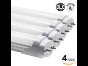 Pack of 4 18W 4ft UL & DLC Listed T8 LED Tube Lights (100V-277V AC) - 5000K Daylight 1800LM LED T8 Tubes for Fluorescent Tube Replacement