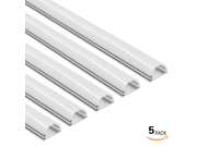 5 PACK 3.3ft/1m Aluminum U-Shape Channel for LED Strip Lights w/ Arc-Shape White Cover - Emulational Neon Effect U05