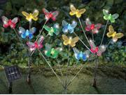 Solar LED Butterfly Garden Stakes Set of 3