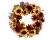 22� Yellow/Burgundy Sunflowers Artificial Wreath 9SIA61Y6A21551