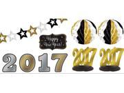 Black, Gold & Silver 2017 New Year's Room Decorating Kit 10pc 9SIA61Y6DF1274