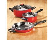 5 pc Red Stainless Cookware Set by Home-Style Kitchen 9SIA61Y6DK5672