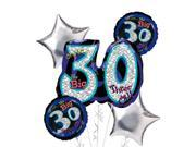 30th Birthday Balloon Bouquet 5pc - Silver Oh No! 9SIA61Y6FB2572
