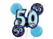 50th Birthday Balloon Bouquet 5pc - Blue Oh No 9SIA61Y6FC9001