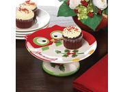 Holiday Hoot Ceramic Owl Dessert Stand 9SIA62V4047090