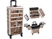 Leopard Printing Textured 3 Tiers Accordion Trays 4 Wheels Professional Rolling Aluminum Cosmetic Makeup Case and Stackable Trays with Dividers I3364