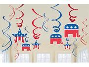 Stars And Stripes Fourth Of July Party Republican Hanging Swirl Ceiling Decoration - Foil - Pack Of 12 9SIA62V5YZ1342