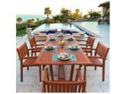Malibu Eco-Friendly 7-Piece Wood Outdoor Dining Set with Rectangular Extension Table and Stacking Chairs 9SIV19P7K61511