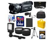 Canon Vixia HF G20 32GB Flash Memory 1080p HD Digital Video Camcorder with 64GB Card + Battery + 2 Cases + Microphone + LED Light + Tripod + Tele/Wide Lens Kit