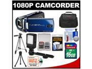 Bell & Howell DV12HDZ 1080p HD Video Camera Camcorder (Blue) with 16GB Card + Case + Tripod + LED Video Light + Kit