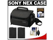 Sony LCS-U20 Medium Carrying Case for Handycam, Cyber-Shot, NEX Digital Camera (Black) with 2 NP-FW50 Batteries + Accessory Kit
