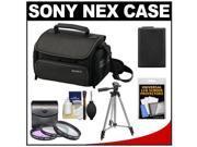 Sony LCS-U20 Medium Carrying Case for Handycam, Cyber-Shot, NEX Digital Camera (Black) with NP-FW50 Battery + 3 UV/FLD/PL Filters + Tripod + Accessory Kit