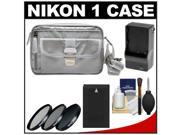 Nikon 1 Series & Coolpix Deluxe Digital Camera Case (Gray) with EN-EL20 Battery + Charger + 3 UV/CPL/ND8 Filters + Cleaning Kit