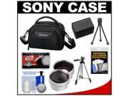 Sony LCS-VA15 Carrying Case for Handycam Camcorders (Black) with Wide & Telephoto Lens + Battery + Tripod + Accessory Kit