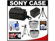 Sony LCS-U20 Medium Carrying Case for Handycam, Cyber-Shot, NEX Digital Camera (Black) with Wide & Telephoto Lens + Battery + Tripod + Accessory Kit