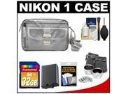Nikon 1 Series Deluxe Digital Camera Case (Gray) with 32GB Card + EN-EL21 Battery + Tele/Wide Lenses + Accessory Kit