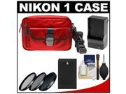Nikon 1 Series Deluxe Digital Camera Case (Red) with EN-EL20 Battery & Charger + 3 UV/CPL/ND8 Filters + Cleaning Kit