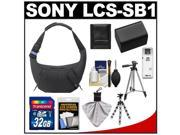Sony LCS-SB1 Sling Case for Handycam, Cyber-Shot, NEX Digital Camera (Black) with 32GB Card + Battery + 2 Tripods + Accessory Kit