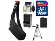 Sony LCS-EME/BI E-Mount NEX Digital Camera Sling Case with 32GB Card + Battery & Charger + Tripod + Accessory Kit
