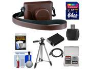 Fujifilm X100S Fitted Brown Leather Camera Case with 64GB Card + Battery + Tripod & Accessory Kit