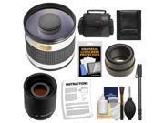 Rokinon 500mm f/6.3 Mirror Lens & 2x Teleconverter with Case + Monopod + Accessory Kit for Sony Alpha NEX Digital Cameras
