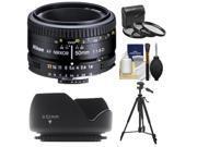 Nikon 50mm f/1.8D AF Nikkor Lens with 3 UV/CPL/ND8 Filters + Hood + Tripod + Cleaning Kit