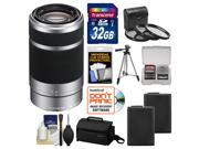 Sony Alpha E-Mount 55-210mm f/4.5-6.3 OSS Zoom Lens (Silver) with Sony Case + 32GB Card + (2) NP-FW50 Batteries + 3 UV/FLD/PL Filters + Tripod + Kit