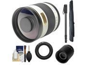 Samyang 500mm f/6.3 Mirror Lens (White) & 2x Teleconverter with Monopod + Accessory Kit for Nikon 1 J1 J2 V1 Digital Cameras