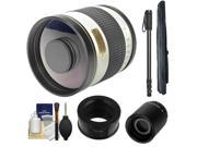 Samyang 500mm f/6.3 Mirror Lens (White) & 2x Teleconverter with Monopod + Accessory Kit for Samsung NX Digital Cameras