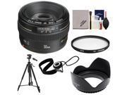 Canon EF 50mm f/1.4 USM Lens with Hoya UV Filter + Hood + Tripod + Accessory Kit