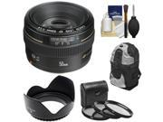 Canon EF 50mm f/1.4 USM Lens with Backpack + 3 UV/CPL/ND8 Filters + Hood + Cleaning Kit