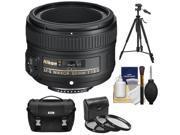 Nikon 50mm f/1.8G AF-S Nikkor Lens with Nikon Case + 3 UV/CPL/ND8 Filters + Tripod + Cleaning Kit