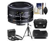 Nikon 50mm f/1.8D AF Nikkor Lens with Nikon Case + 3 UV/CPL/ND8 Filters + Hood + Tripod + Cleaning Kit