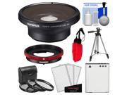 Olympus FCON-T01 Fisheye Converter Lens & CLA-T01 Adapter Ring Pack for Tough TG-1, TG-2 & TG-3 iHS Camera with Li-90B Battery + Tripod + 3 Filters Kit