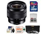Sony Alpha E-Mount 10-18mm f/4.0 OSS Wide-angle Zoom Lens with 32GB Card + Case + 3 UV/CPL/ND8 Filters + Accessory Kit