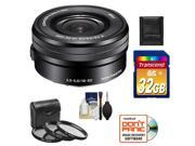 Sony Alpha E-Mount 16-50mm f/3.5-5.6 OSS PZ Zoom Lens with 32GB Card + Case + 3 (UV/CPL/ND8) Filters + Accessory Kit
