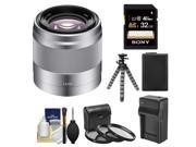 Sony Alpha E-Mount 50mm f/1.8 OSS Telephoto Lens (Silver) with 32GB Card + NP-FW50 Battery & Charger + Flex Tripod + Filter Set + Cleaning Kit
