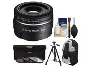 Sony Alpha A-Mount 30mm f/2.8 DT Macro SAM Lens with Sling Backpack + Tripod + 3 UV/CPL/ND8 Filters + Cleaning Kit