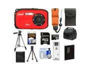 Coleman Xtreme C5WP Shock & Waterproof Digital Camera (Red) with 8GB Card + Battery + Floating Strap + (2) Cases + Tripod + Accessory Kit