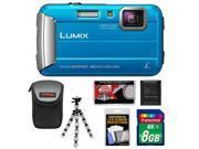 Panasonic Lumix DMC-TS25 Shock & Waterproof Digital Camera (Blue) with 8GB Card + Case + Flex Tripod + Accessory Kit