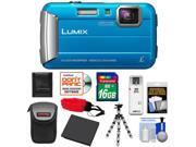 Panasonic Lumix DMC-TS25 Shock & Waterproof Digital Camera (Blue) with 16GB Card + Battery + Case + Floating Strap + Flex Tripod + Accessory Kit
