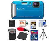 Panasonic Lumix DMC-TS25 Shock & Waterproof Digital Camera (Blue) with 32GB Card + Battery + Case + Floating Strap + Flex Tripod + Accessory Kit