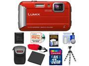 Panasonic Lumix DMC-TS25 Shock & Waterproof Digital Camera (Red) with 32GB Card + Battery + Case + Floating Strap + Flex Tripod + Accessory Kit