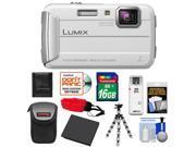Panasonic Lumix DMC-TS25 Shock & Waterproof Digital Camera (White) with 16GB Card + Battery + Case + Floating Strap + Flex Tripod + Accessory Kit