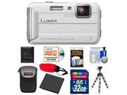 Panasonic Lumix DMC-TS25 Shock & Waterproof Digital Camera (White) with 32GB Card + Battery + Case + Floating Strap + Flex Tripod + Accessory Kit